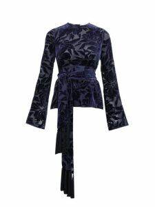Galvan - Winter Jungle Belted Devoré-velvet Top - Womens - Navy