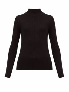 The Row - Sulli Mock Neck Silk And Cotton Blend Sweater - Womens - Black