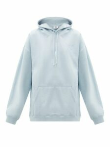 Vetements - Goat-print Cotton Jersey Hooded Sweatshirt - Womens - Light Blue