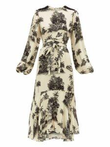 Johanna Ortiz - Nostalgia Del Pasado Toile Print Silk Dress - Womens - Black Print