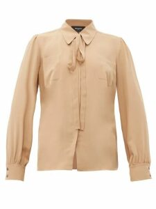 Rochas - Pussy-bow Silk-crepe Blouse - Womens - Beige