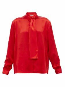 Balenciaga - Pussy-bow Silk-satin Blouse - Womens - Red