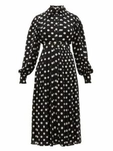 Emilia Wickstead - Anatola Pleated Polka Dot Crepe Shirtdress - Womens - Black White