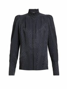 Isabel Marant - Lamia Pattern Jacquard Silk Blend Blouse - Womens - Dark Grey