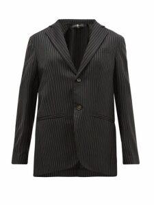 Edward Crutchley - Single-breasted Chalk-striped Wool-twill Blazer - Womens - Black
