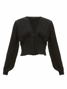 Nili Lotan - Laila Button-down Silk-georgette Blouse - Womens - Black
