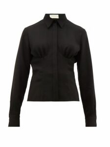Sara Battaglia - Gathered-front Crepe Blouse - Womens - Black