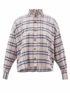 Isabel Marant Étoile - Ilaria Ruffled Checked Cotton Shirt - Womens - Light Pink