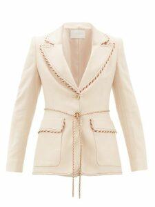 Peter Pilotto - Braided-trim Single-breasted Tweed Jacket - Womens - Beige