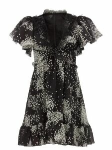 Giambattista Valli - Square Print Lace Trimmed Silk Georgette Dress - Womens - Black White