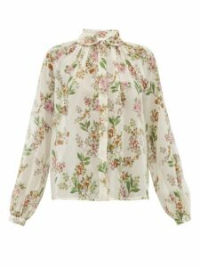 Giambattista Valli - Floral-print Silk-georgette Blouse - Womens - Ivory Multi