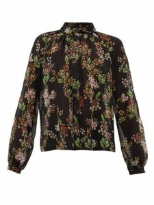 Giambattista Valli - Floral Print Silk Georgette Blouse - Womens - Black Multi