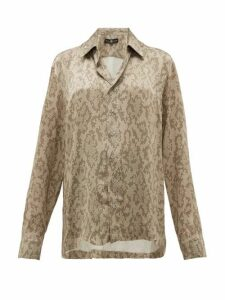 Edward Crutchley - Snake-print Cuban-collar Silk Shirt - Womens - Beige Multi