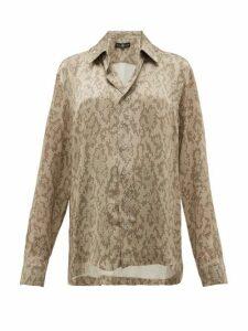 Edward Crutchley - Snake-print Cuban-collar Silk Shirt - Womens - Beige Multi