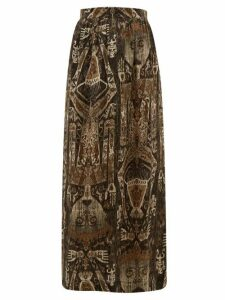 Edward Crutchley - Raja-print Silk Skirt - Womens - Brown Multi