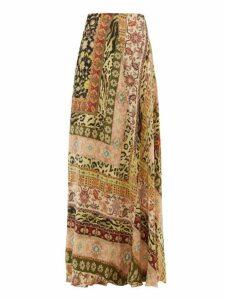 Etro - Derbyshire Leopard-print Maxi Skirt - Womens - Pink Multi