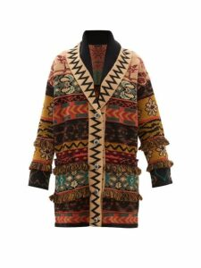 Etro - Patchwork Fringed Jacquard Cardigan - Womens - Brown Multi
