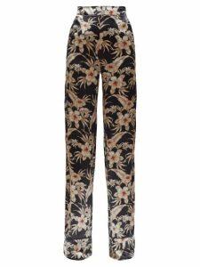 Altuzarra - Bani Hawaiian-print Charmeuse Trousers - Womens - Black Print