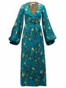 Adriana Iglesias - Floral Printed Silk Blend Wrap Dress - Womens - Blue Multi