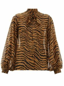 Nili Lotan - Monica Tiger-print Pussy-bow Silk Blouse - Womens - Black Brown