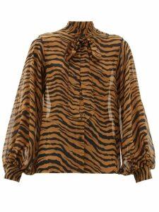 Nili Lotan - Monica Tiger-print Pussy-bow Silk Blouse - Womens - Black Brown