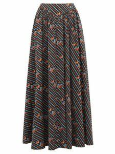 Staud - Anita Electric Frog-print Cotton-blend Maxi Skirt - Womens - Black Multi