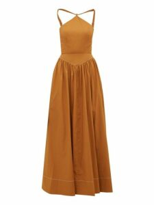 Staud - Natasha Halterneck Cotton Blend Poplin Maxi Dress - Womens - Light Brown