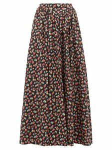 Staud - Mushroom-print Cotton-blend Maxi Skirt - Womens - Black Multi
