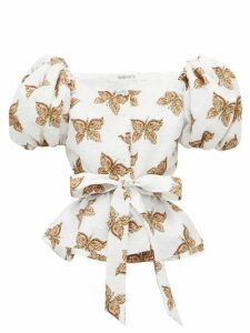 Rodarte - Butterfly-print Cloqué Top - Womens - White Multi