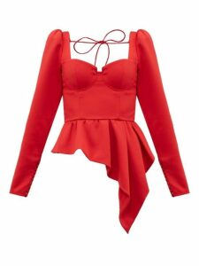 Self-portrait - Asymmetric-peplum Satin Top - Womens - Red