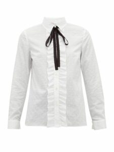Redvalentino - Ruffled Front Fil Coupé Cotton Shirt - Womens - White