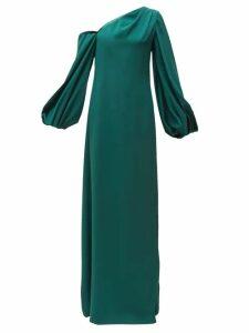 Carolina Herrera - Knotted-back Asymmetric Silk Crepe Gown - Womens - Dark Green