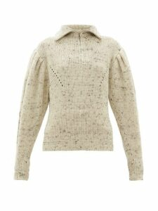 Isabel Marant - Kuma Puff-sleeve Wool Sweater - Womens - Ivory