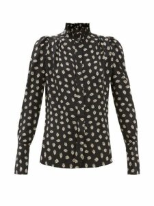 Isabel Marant - Lamia High-neck Floral-print Silk Blouse - Womens - Black Print