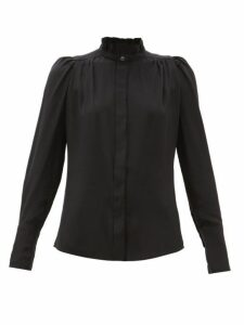 Isabel Marant - Lamia Ruffled Silk Crepe De Chine Blouse - Womens - Black