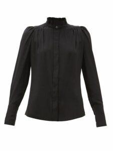 Isabel Marant - Lamia Ruffled Silk Crepe De Chine Blouse - Womens - Black