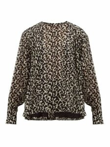 Isabel Marant - Midway Floral-print Silk-blend Blouse - Womens - Black White