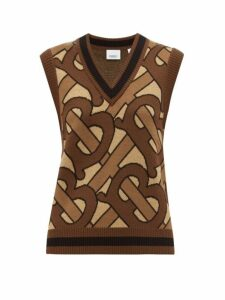 Burberry - Caledon Tb-jacquard Wool Sleeveless Sweater - Womens - Brown Multi
