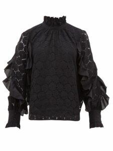 Apiece Apart - Rio Ruffle Trimmed Cotton Blend Lace Top - Womens - Black