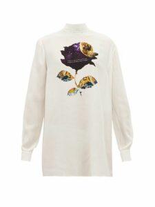 Valentino - Cosmos Rose-print Silk-georgette Blouse - Womens - White Print