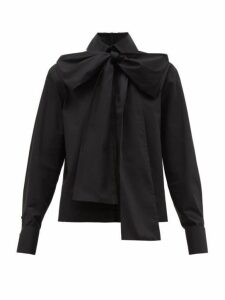 Fendi - Detachable-pussybow Cotton-poplin Shirt - Womens - Black