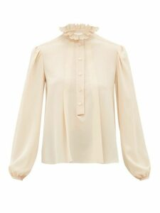 Chloé - Scalloped Collar Silk Crepe De Chine Blouse - Womens - Beige
