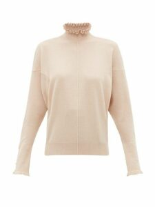 Chloé - Ruffled Cashmere Sweater - Womens - Light Brown