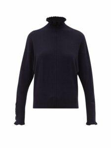 Chloé - Flounced Edge High Neck Cashmere Sweater - Womens - Navy