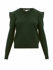 Stella Mccartney - Puffed Shoulder Wool Blend Sweater - Womens - Dark Green
