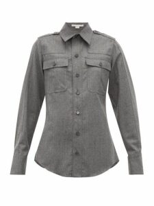 Stella Mccartney - Wool Flannel Military Shirt - Womens - Grey