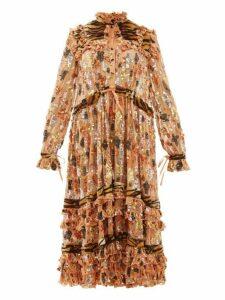 Ashish - Tiger Print Faux Fur And Sequinned Chiffon Dress - Womens - Light Orange