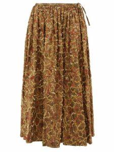 Ashish - Sequinned Brocade Midi Skirt - Womens - Gold