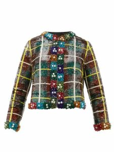Ashish - Sequinned Checked Jacket - Womens - Green Multi