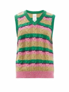 Ashish - Striped Sequinned Cable-knit Tank Top - Womens - Pink Multi